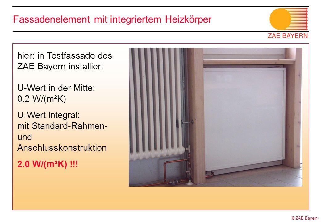 © ZAE Bayern Fassadenelement mit integriertem Heizkörper hier: in Testfassade des ZAE Bayern installiert U-Wert in der Mitte: 0.2 W/(m²K) U-Wert integ