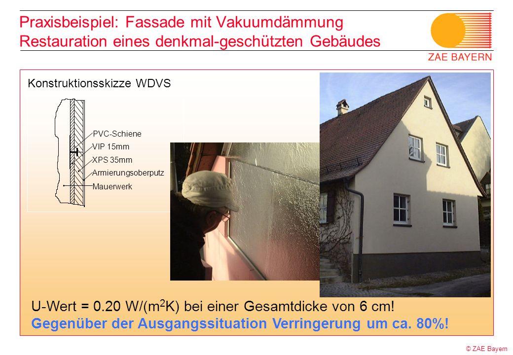 © ZAE Bayern PVC-Schiene VIP 15mm XPS 35mm Armierungsoberputz Mauerwerk Konstruktionsskizze WDVS Praxisbeispiel: Fassade mit Vakuumdämmung Restauratio