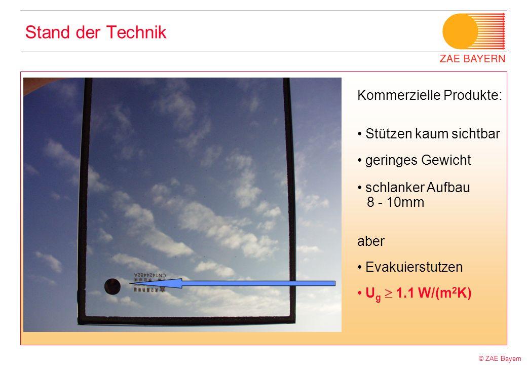 © ZAE Bayern Stand der Technik Kommerzielle Produkte: Stützen kaum sichtbar geringes Gewicht schlanker Aufbau 8 - 10mm aber Evakuierstutzen U g 1.1 W/