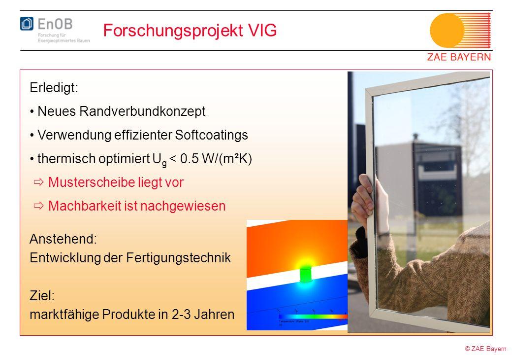 © ZAE Bayern Forschungsprojekt VIG Erledigt: Neues Randverbundkonzept Verwendung effizienter Softcoatings thermisch optimiert U g < 0.5 W/(m²K) Muster