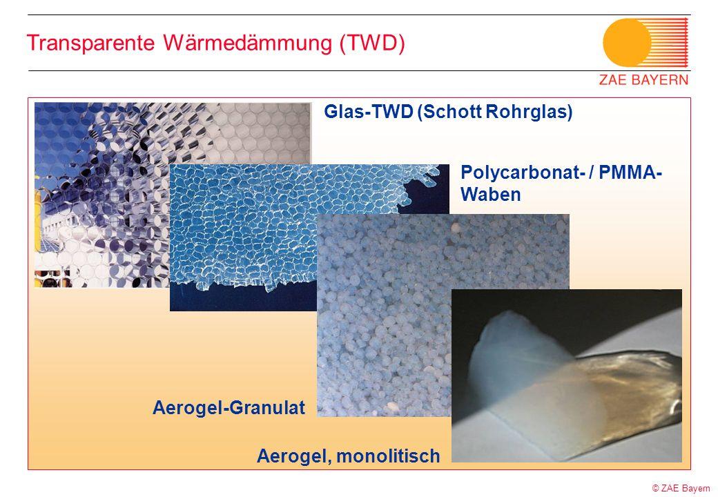 © ZAE Bayern Transparente Wärmedämmung (TWD) Glas-TWD (Schott Rohrglas) Polycarbonat- / PMMA- Waben Aerogel-Granulat Aerogel, monolitisch
