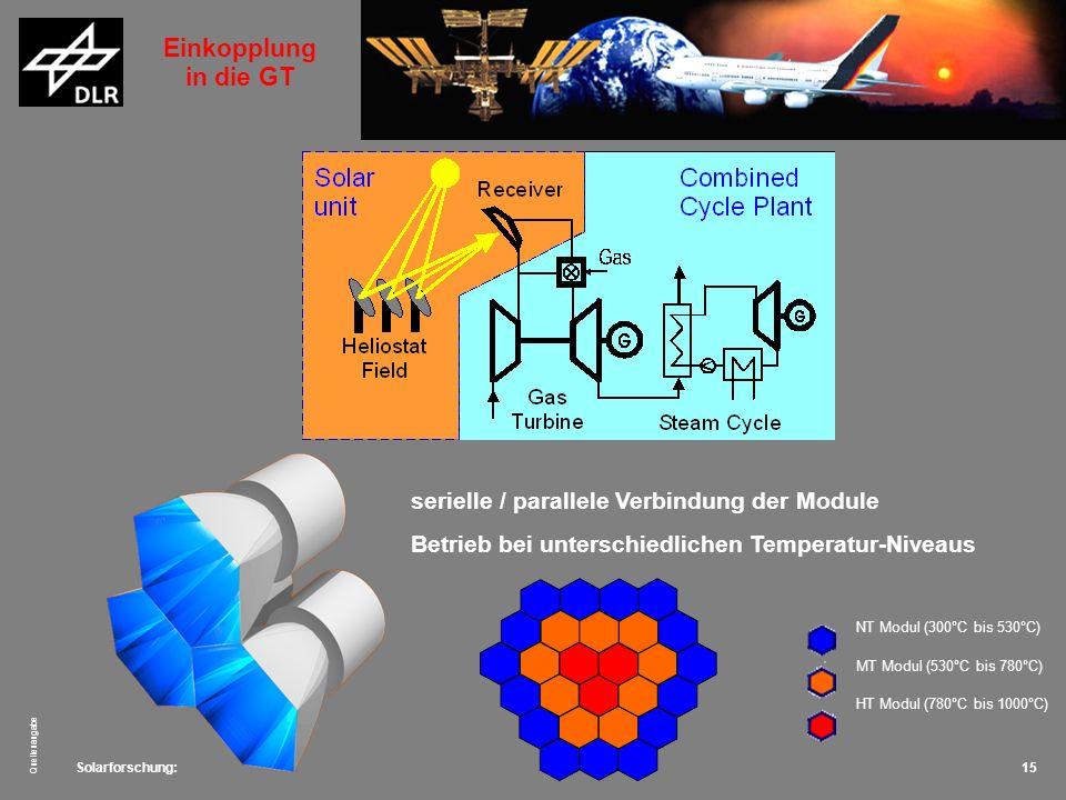 Solarforschung: Quellenangabe 15 NT Modul (300°C bis 530°C) MT Modul (530°C bis 780°C) HT Modul (780°C bis 1000°C) serielle / parallele Verbindung der