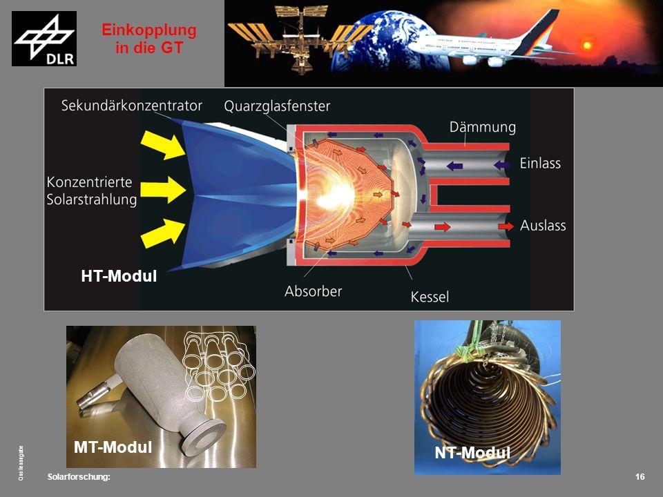 Solarforschung: Quellenangabe 16 kostengünstige Bauweise 16 spiralförmig gebogene Inconelrohre, 28 x 2.3mm HT-Modul MT-Modul NT-Modul Einkopplung in d