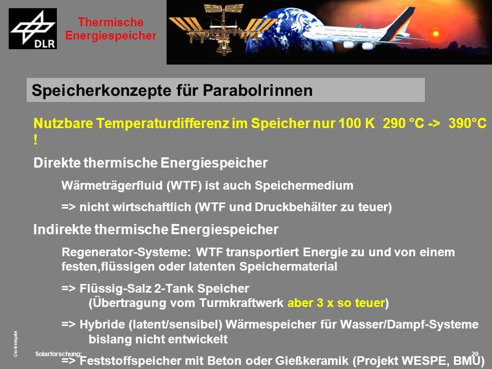 Solarforschung: Quellenangabe 20 Speicherkonzepte für Parabolrinnen Nutzbare Temperaturdifferenz im Speicher nur 100 K 290 °C -> 390°C ! Direkte therm
