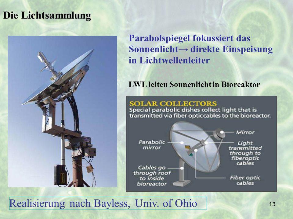 13 Die Lichtsammlung Parabolspiegel fokussiert das Sonnenlicht direkte Einspeisung in Lichtwellenleiter LWL leiten Sonnenlicht in Bioreaktor Realisier
