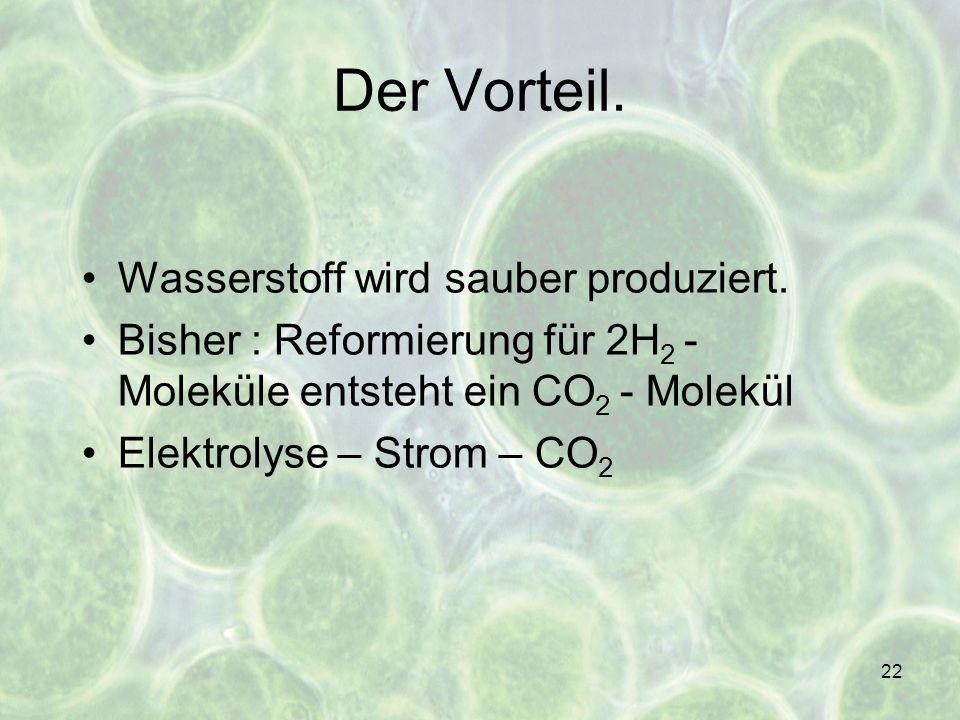 22 Wasserstoff wird sauber produziert. Bisher : Reformierung für 2H 2 - Moleküle entsteht ein CO 2 - Molekül Elektrolyse – Strom – CO 2 Der Vorteil.