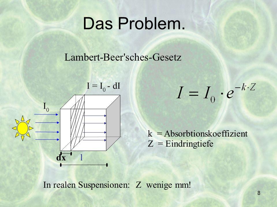 19 Anforderungen an den Photobioreaktor Organismen Belichtung Nährstoffzufuhr Prozessüberwachung (pH-Wert, Sauerstoffkonzentration, Temperatur) Entgasung