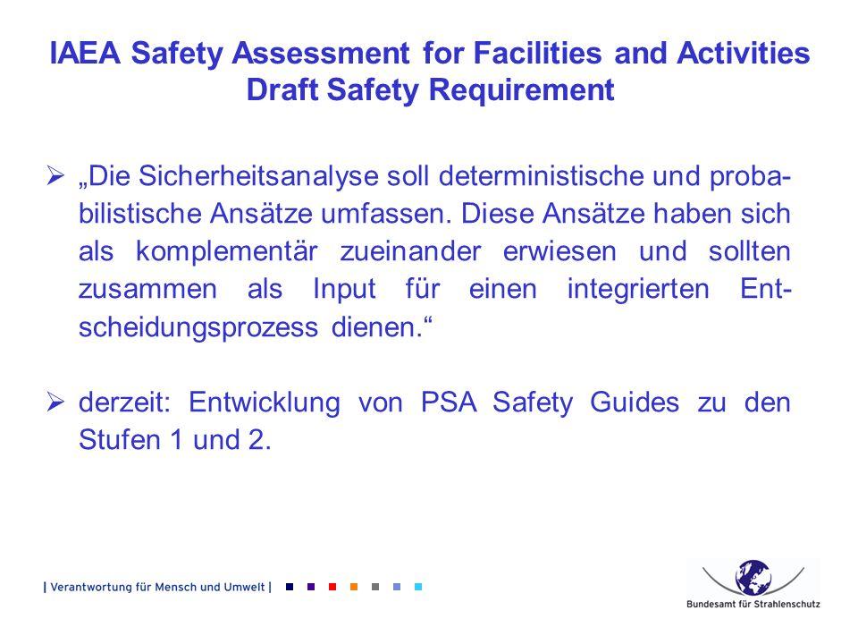 IAEA Safety Assessment for Facilities and Activities Draft Safety Requirement Die Sicherheitsanalyse soll deterministische und proba- bilistische Ansä