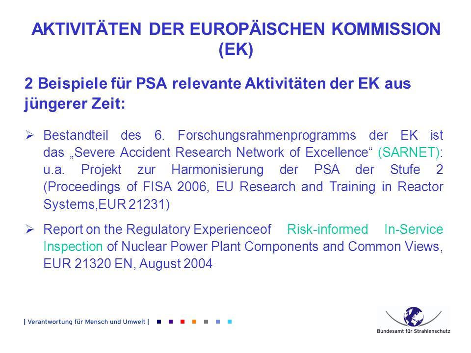 AKTIVITÄTEN DER EUROPÄISCHEN KOMMISSION (EK) 2 Beispiele für PSA relevante Aktivitäten der EK aus jüngerer Zeit: Bestandteil des 6. Forschungsrahmenpr