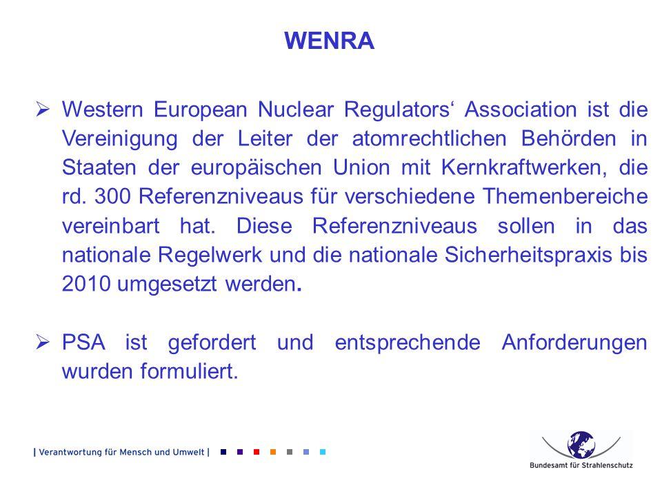 WENRA Western European Nuclear Regulators Association ist die Vereinigung der Leiter der atomrechtlichen Behörden in Staaten der europäischen Union mi