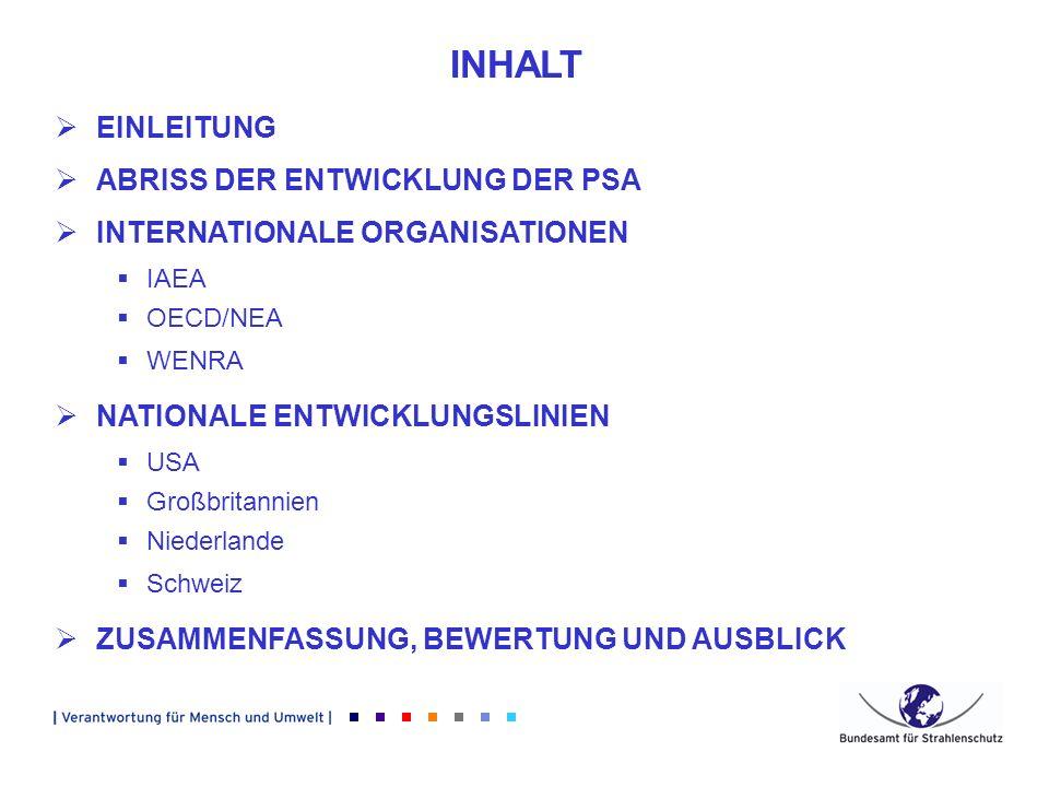 EINLEITUNG ABRISS DER ENTWICKLUNG DER PSA INTERNATIONALE ORGANISATIONEN IAEA OECD/NEA WENRA NATIONALE ENTWICKLUNGSLINIEN USA Großbritannien Niederland