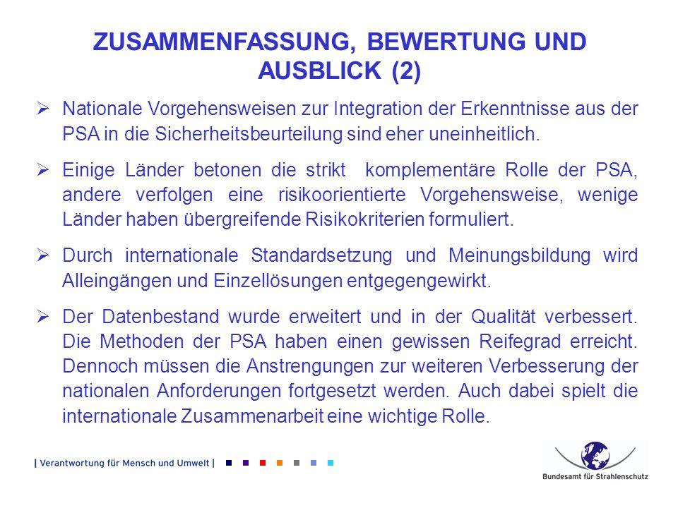 ZUSAMMENFASSUNG, BEWERTUNG UND AUSBLICK (2) Nationale Vorgehensweisen zur Integration der Erkenntnisse aus der PSA in die Sicherheitsbeurteilung sind