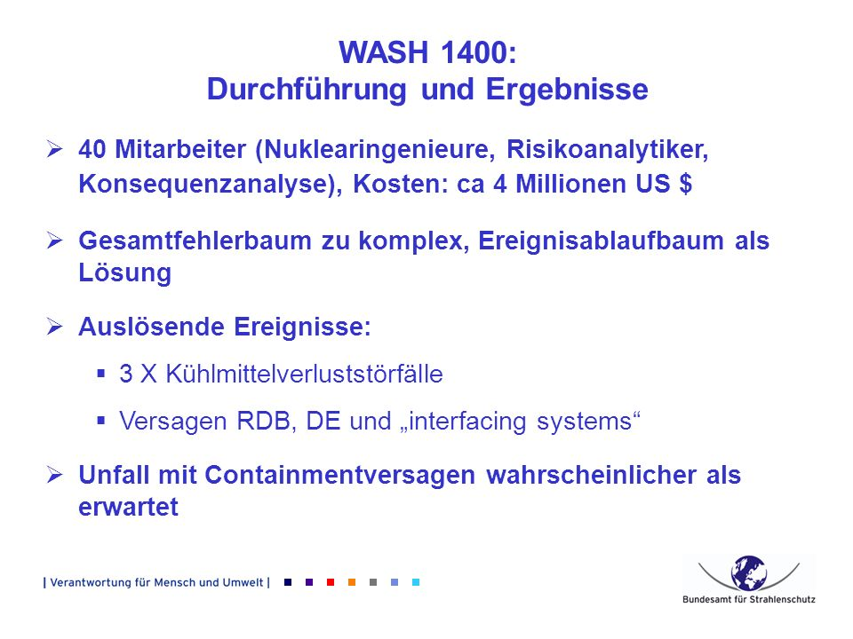 WASH 1400: Bewertung und Folgen Fachlicher Response zunächst skeptisch, auch innerhalb NRC 1995 Policy Statement:...increased use of PSA in all regulatory matters...