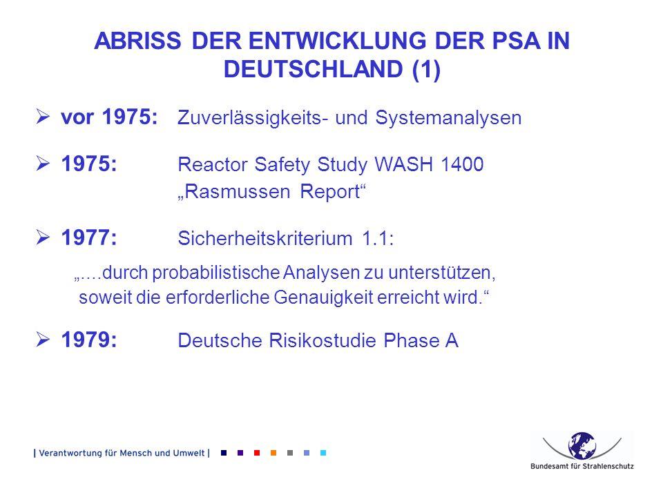 ABRISS DER ENTWICKLUNG DER PSA IN DEUTSCHLAND (1) vor 1975: Zuverlässigkeits- und Systemanalysen 1975: Reactor Safety Study WASH 1400 Rasmussen Report