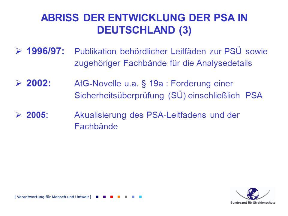 ABRISS DER ENTWICKLUNG DER PSA IN DEUTSCHLAND (3) 1996/97: Publikation behördlicher Leitfäden zur PSÜ sowie zugehöriger Fachbände für die Analysedetai