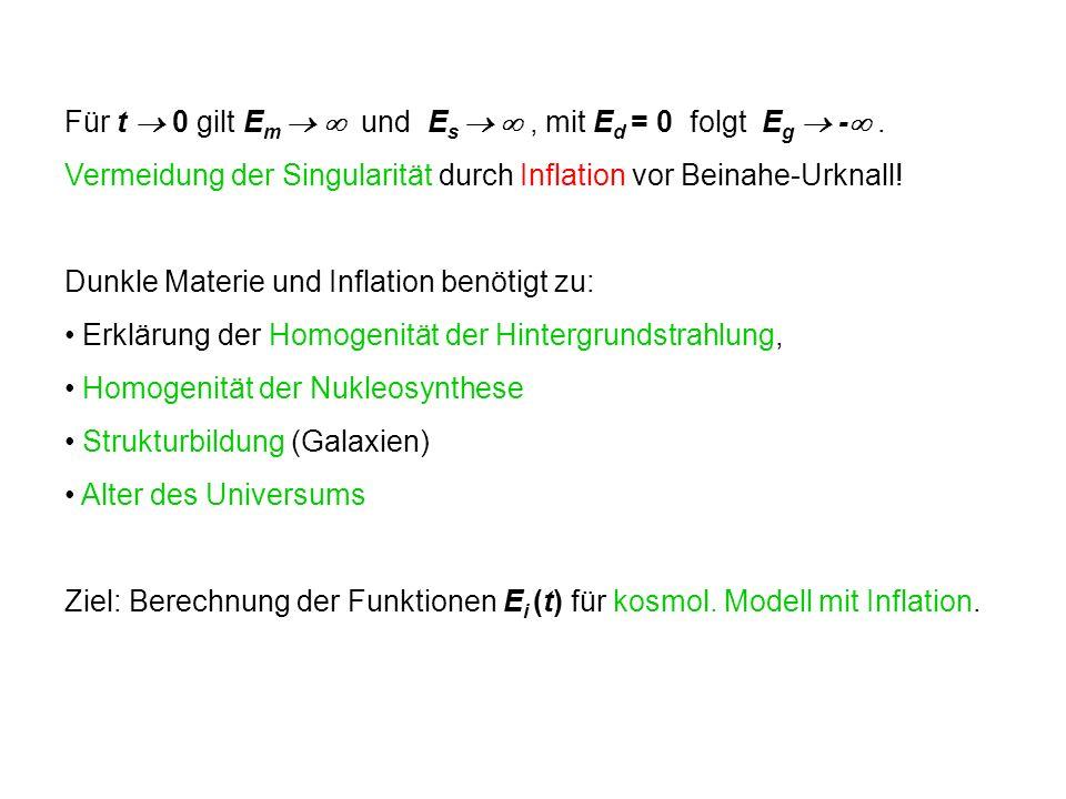 Für t 0 gilt E m und E s, mit E d = 0 folgt E g -. Vermeidung der Singularität durch Inflation vor Beinahe-Urknall! Dunkle Materie und Inflation benöt
