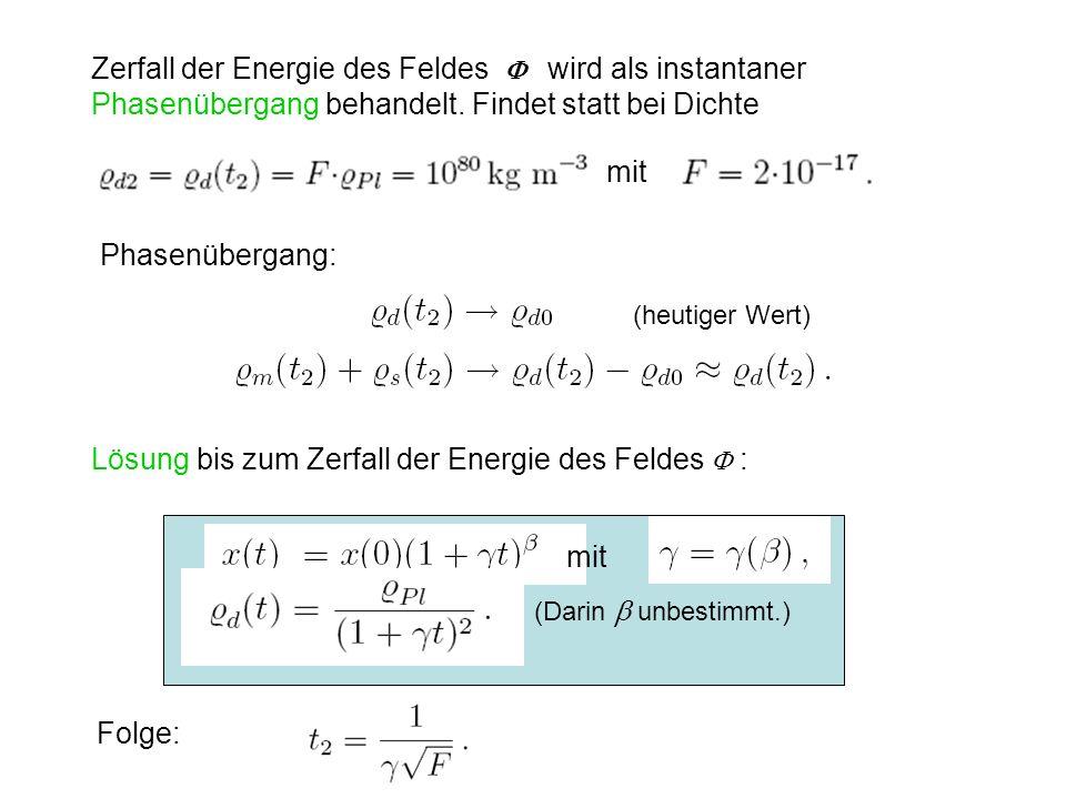 Zerfall der Energie des Feldes wird als instantaner Phasenübergang behandelt. Findet statt bei Dichte Phasenübergang: Lösung bis zum Zerfall der Energ