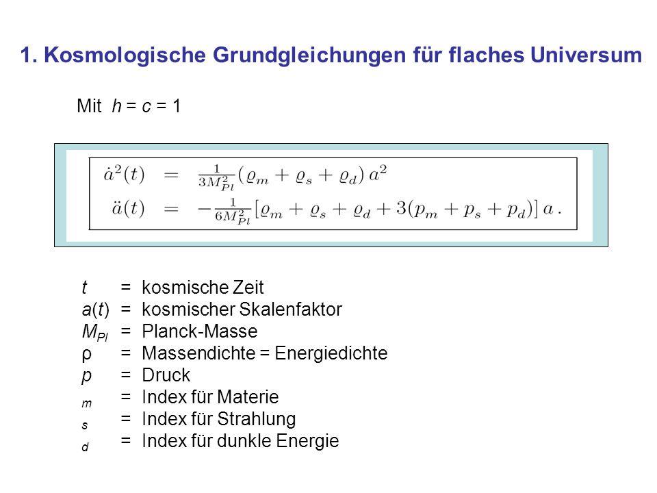 1. Kosmologische Grundgleichungen für flaches Universum Mit h = c = 1 t = kosmische Zeit a(t) = kosmischer Skalenfaktor M Pl = Planck-Masse ρ = Massen