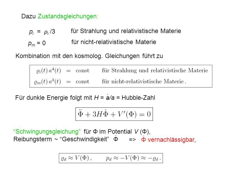 p i = i /3 Für dunkle Energie folgt mit H = a/a = Hubble-Zahl Schwingungsgleichung für Ф im Potential V (Ф), Reibungsterm ~ Geschwindigkeit Ф Dazu Zus