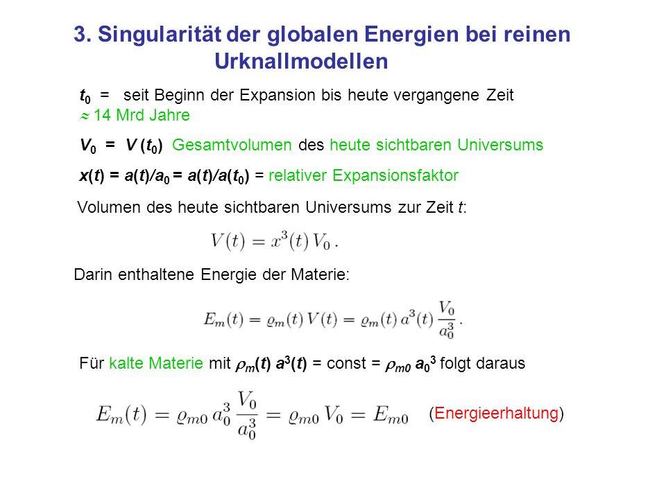 3. Singularität der globalen Energien bei reinen Urknallmodellen t 0 = seit Beginn der Expansion bis heute vergangene Zeit 14 Mrd Jahre V 0 = V (t 0 )