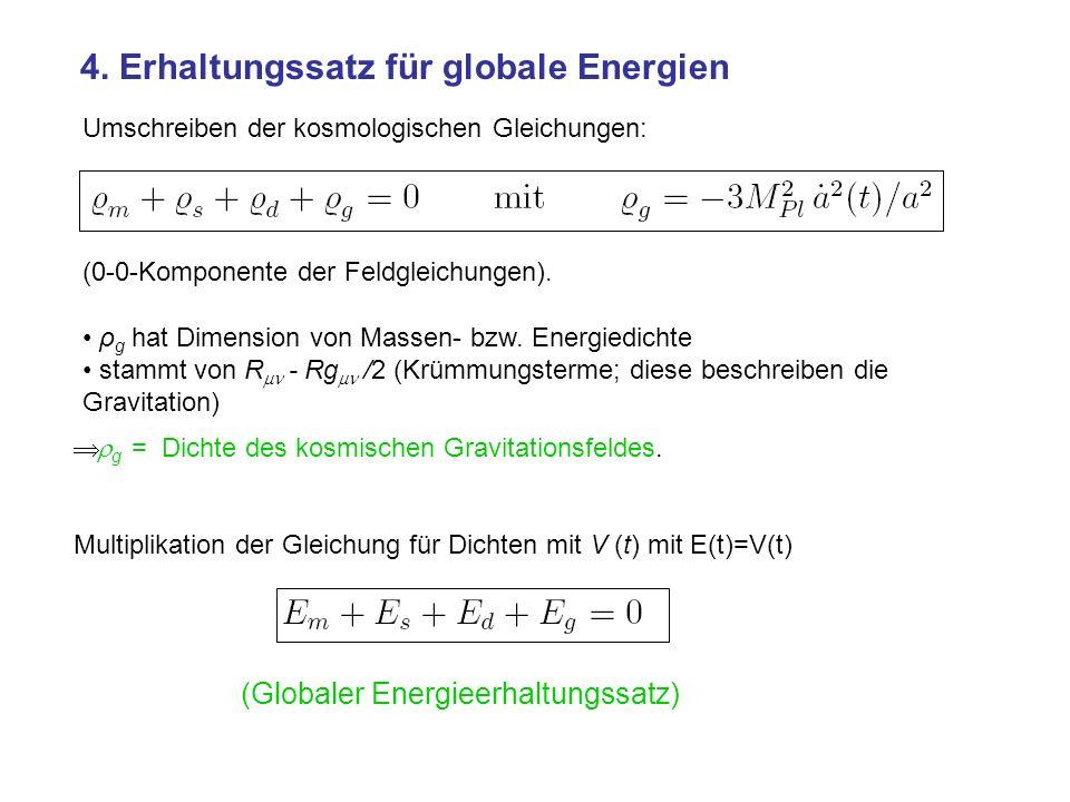 4. Erhaltungssatz für globale Energien (0-0-Komponente der Feldgleichungen). ρ g hat Dimension von Massen- bzw. Energiedichte stammt von R - Rg /2 (Kr