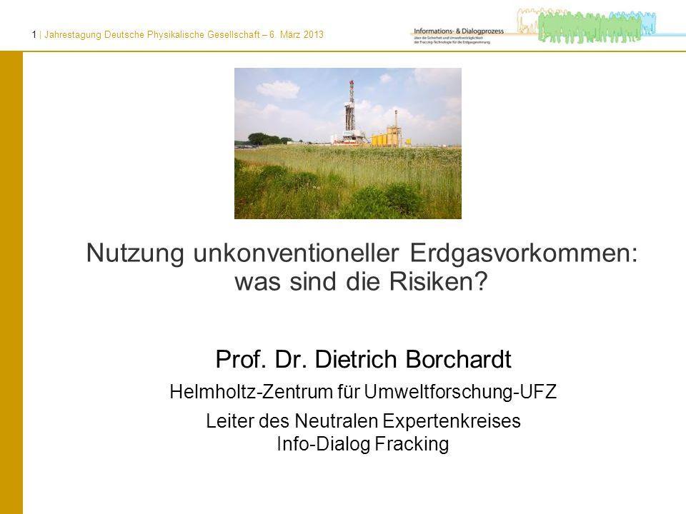 1 | Jahrestagung Deutsche Physikalische Gesellschaft – 6. März 2013 Nutzung unkonventioneller Erdgasvorkommen: was sind die Risiken? Prof. Dr. Dietric