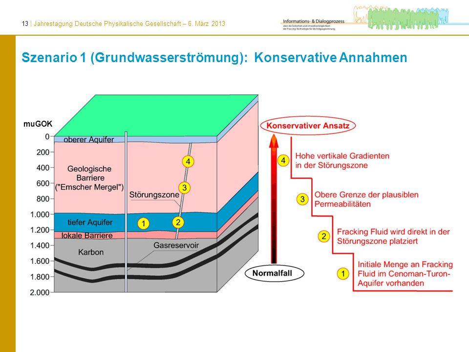 13 | Jahrestagung Deutsche Physikalische Gesellschaft – 6. März 2013 muGOK Szenario 1 (Grundwasserströmung): Konservative Annahmen