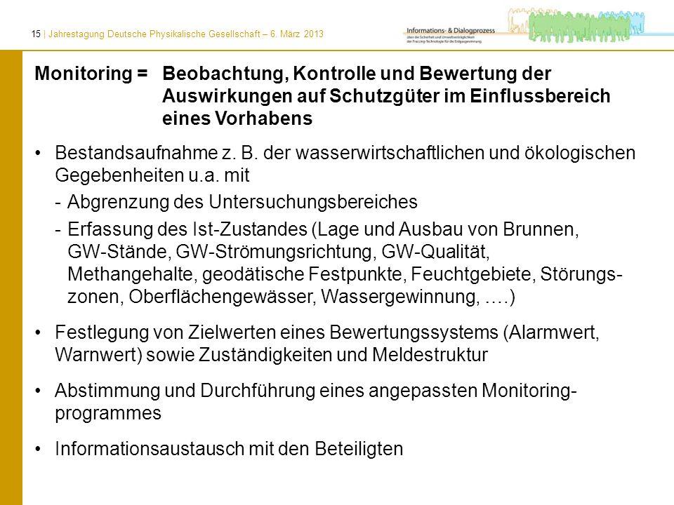 15 | Jahrestagung Deutsche Physikalische Gesellschaft – 6. März 2013 Bestandsaufnahme z. B. der wasserwirtschaftlichen und ökologischen Gegebenheiten
