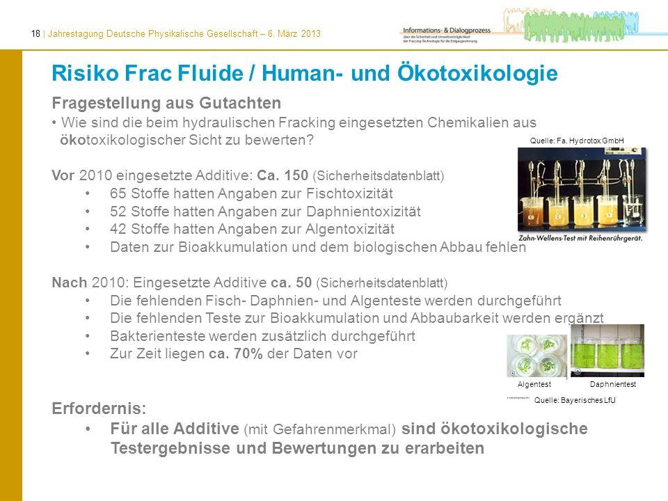 18 | Jahrestagung Deutsche Physikalische Gesellschaft – 6. März 2013 Fragestellung aus Gutachten Wie sind die beim hydraulischen Fracking eingesetzten