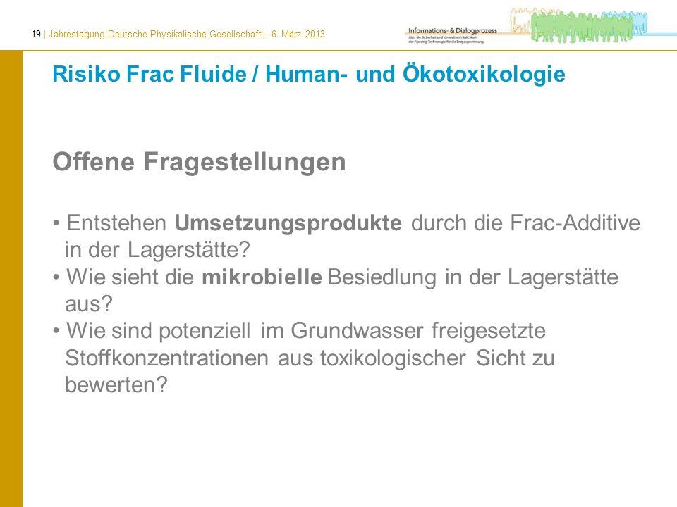 19 | Jahrestagung Deutsche Physikalische Gesellschaft – 6. März 2013 Offene Fragestellungen Entstehen Umsetzungsprodukte durch die Frac-Additive in de