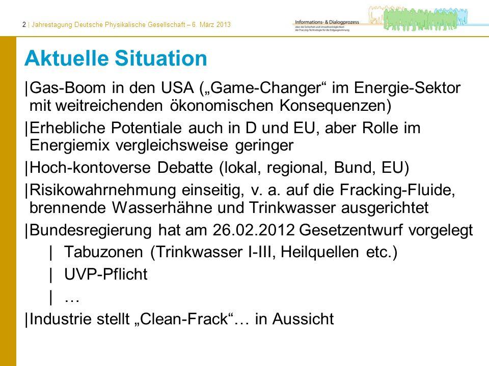 2 | Jahrestagung Deutsche Physikalische Gesellschaft – 6. März 2013 Aktuelle Situation |Gas-Boom in den USA (Game-Changer im Energie-Sektor mit weitre