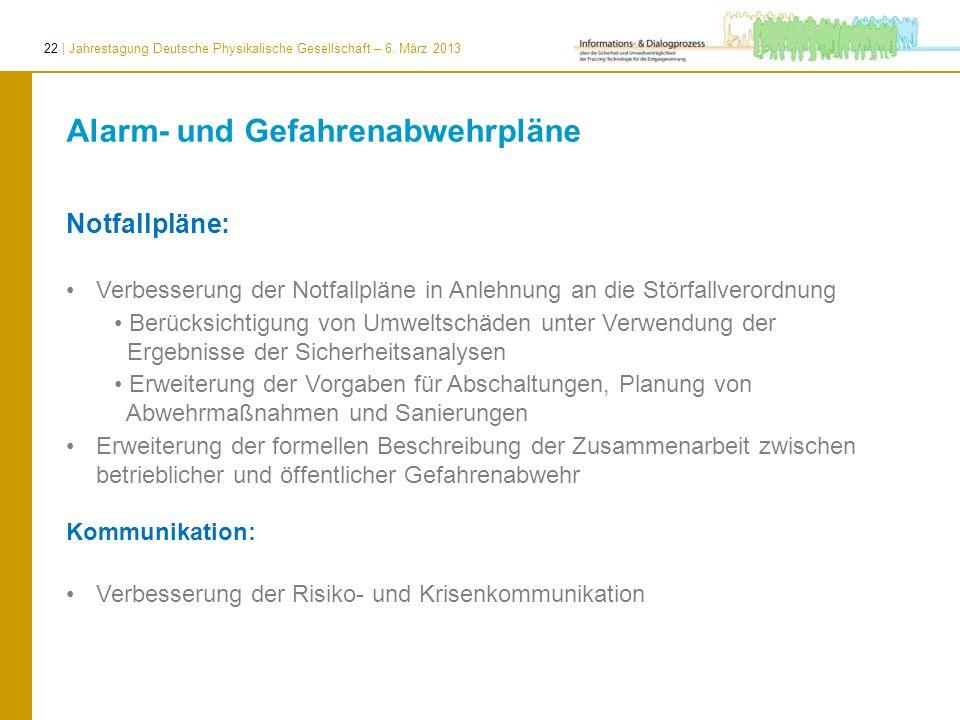 22 | Jahrestagung Deutsche Physikalische Gesellschaft – 6. März 2013 Alarm- und Gefahrenabwehrpläne Notfallpläne: Verbesserung der Notfallpläne in Anl