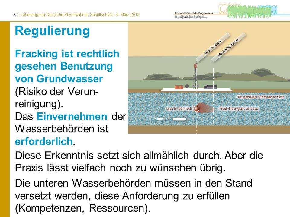 23 | Jahrestagung Deutsche Physikalische Gesellschaft – 6. März 2013 Regulierung Fracking ist rechtlich gesehen Benutzung von Grundwasser (Risiko der
