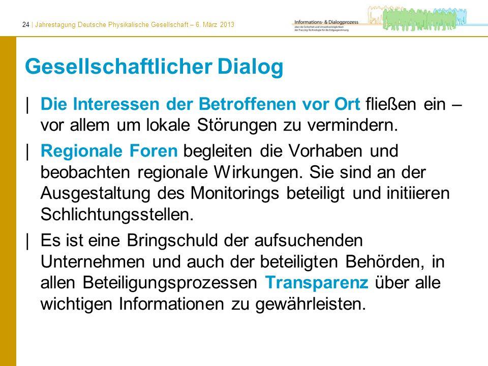24 | Jahrestagung Deutsche Physikalische Gesellschaft – 6. März 2013 Gesellschaftlicher Dialog | Die Interessen der Betroffenen vor Ort fließen ein –