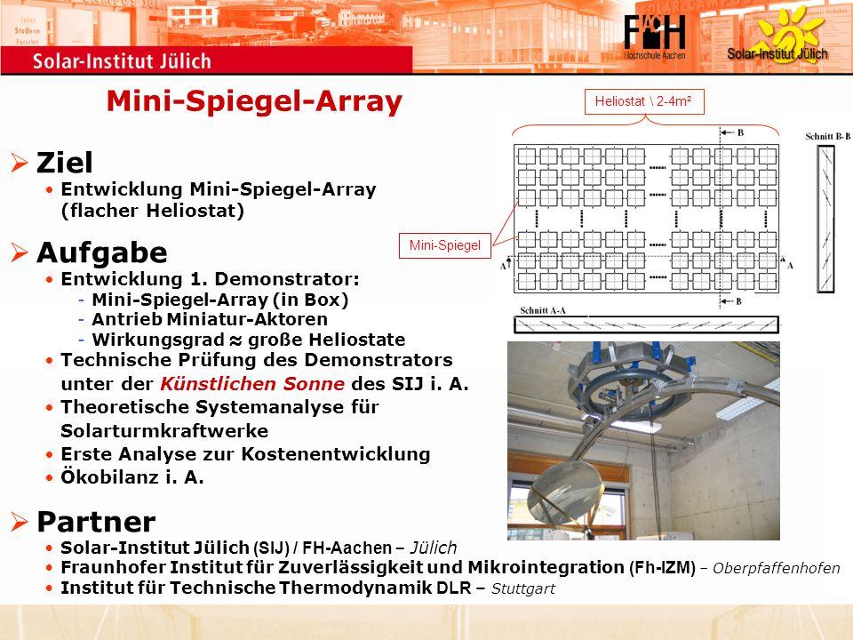 Mini-Spiegel-Array Ziel Entwicklung Mini-Spiegel-Array (flacher Heliostat) Aufgabe Entwicklung 1. Demonstrator: -Mini-Spiegel-Array (in Box) -Antrieb