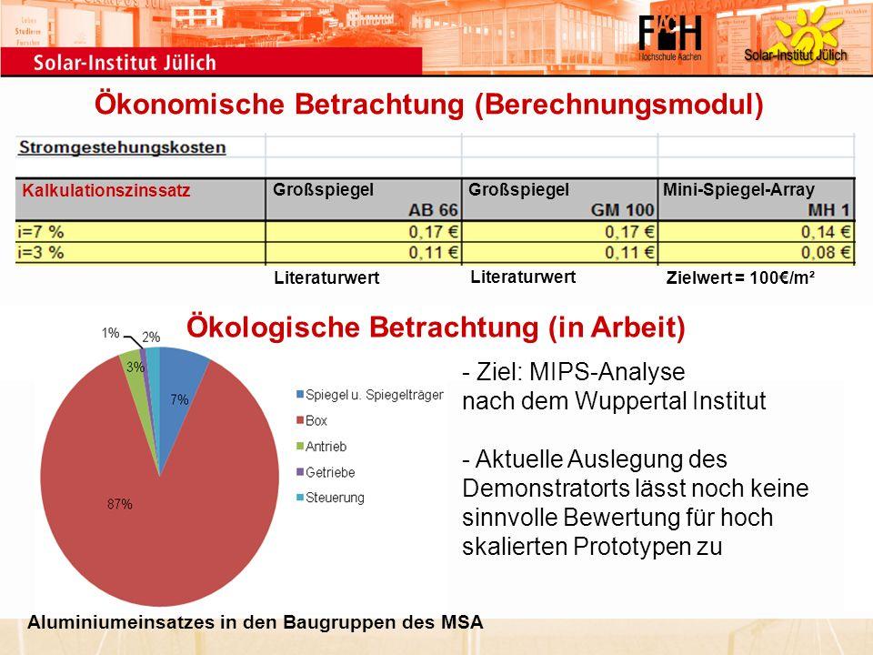 - Ziel: MIPS-Analyse nach dem Wuppertal Institut - Aktuelle Auslegung des Demonstratorts lässt noch keine sinnvolle Bewertung für hoch skalierten Prot