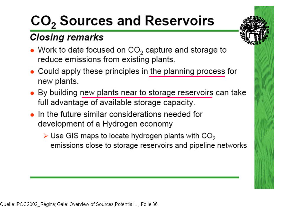 Quelle:IPCC2002_Regina; Gale: Overview of Sources,Potential.., Folie 36