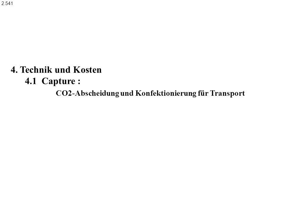 4. Technik und Kosten 4.1 Capture : CO2-Abscheidung und Konfektionierung für Transport 2.541