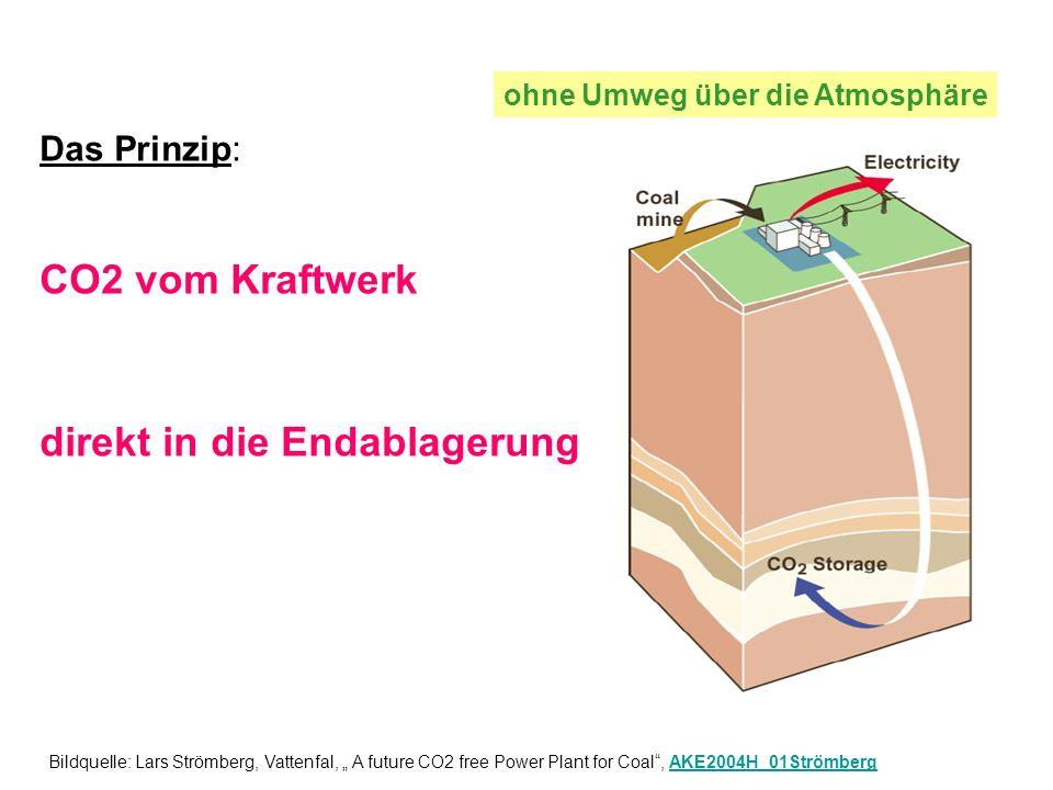 Das Prinzip: CO2 vom Kraftwerk direkt in die Endablagerung ohne Umweg über die Atmosphäre Bildquelle: Lars Strömberg, Vattenfal, A future CO2 free Power Plant for Coal, AKE2004H_01StrömbergAKE2004H_01Strömberg