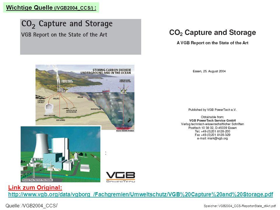 Link zum Original: http://www.vgb.org/data/vgborg_/Fachgremien/Umweltschutz/VGB%20Capture%20and%20Storage.pdf http://www.vgb.org/data/vgborg_/Fachgremien/Umweltschutz/VGB%20Capture%20and%20Storage.pdf Speicher: VGB2004_CCS-ReportonState_ofArt.pdf : Wichtige Quelle (/VGB2004_CCS/) : Quelle: /VGB2004_CCS /