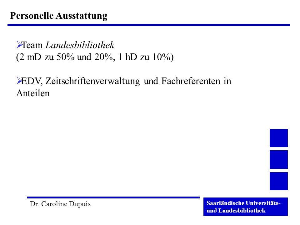 Saarländische Universitäts- und Landesbibliothek Dr. Caroline Dupuis Personelle Ausstattung Team Landesbibliothek (2 mD zu 50% und 20%, 1 hD zu 10%) E