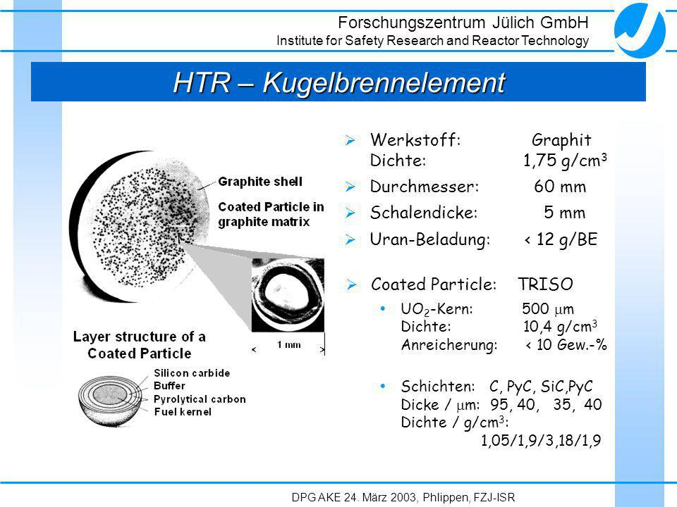 Forschungszentrum Jülich GmbH Institute for Safety Research and Reactor Technology DPG AKE 24. März 2003, Phlippen, FZJ-ISR HTR – Kugelbrennelement We