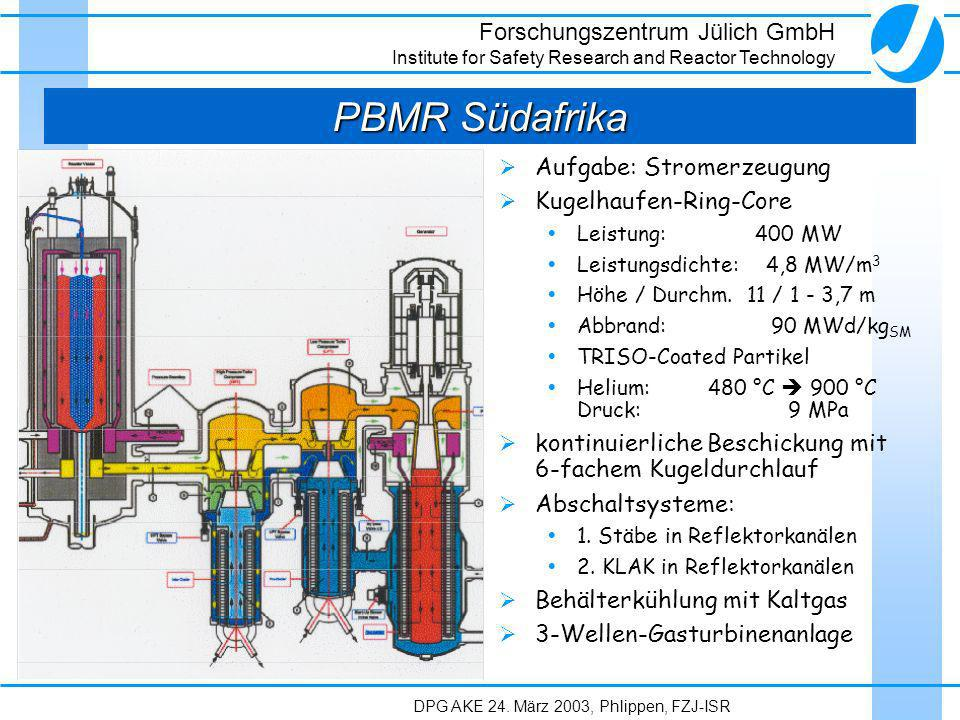 Forschungszentrum Jülich GmbH Institute for Safety Research and Reactor Technology DPG AKE 24. März 2003, Phlippen, FZJ-ISR PBMR Südafrika Aufgabe: St