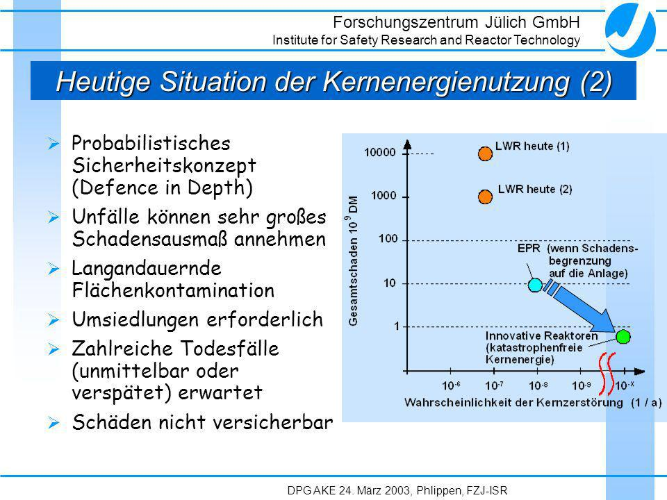 Forschungszentrum Jülich GmbH Institute for Safety Research and Reactor Technology DPG AKE 24. März 2003, Phlippen, FZJ-ISR Heutige Situation der Kern