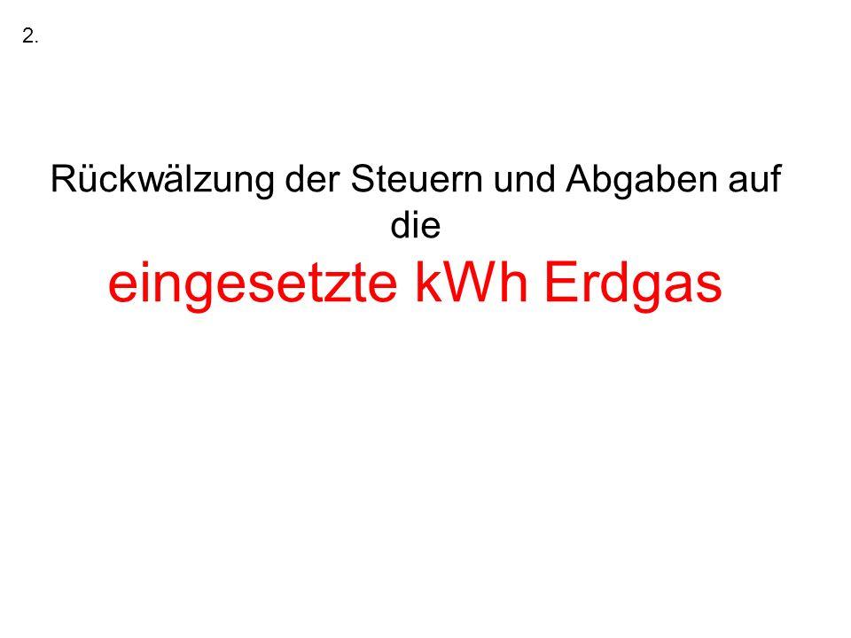 Rückwälzung der Steuern und Abgaben auf die eingesetzte kWh Erdgas 2.