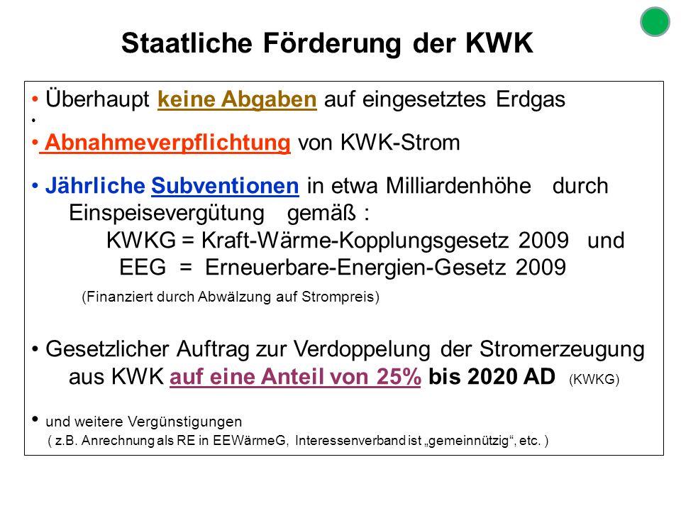 Staatliche Förderung der KWK Überhaupt keine Abgaben auf eingesetztes Erdgas Abnahmeverpflichtung von KWK-Strom Jährliche Subventionen in etwa Milliar