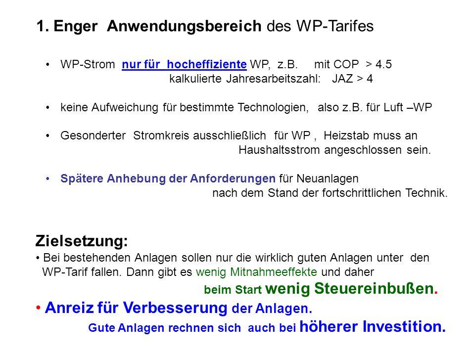 1. Enger Anwendungsbereich des WP-Tarifes WP-Strom nur für hocheffiziente WP, z.B. mit COP > 4.5 kalkulierte Jahresarbeitszahl: JAZ > 4 keine Aufweich