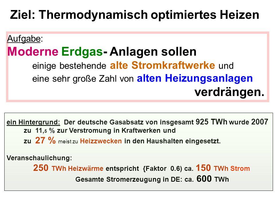 Aufgabe: Moderne Erdgas- Anlagen sollen einige bestehende alte Stromkraftwerke und eine sehr große Zahl von alten Heizungsanlagen verdrängen. Ziel: Th