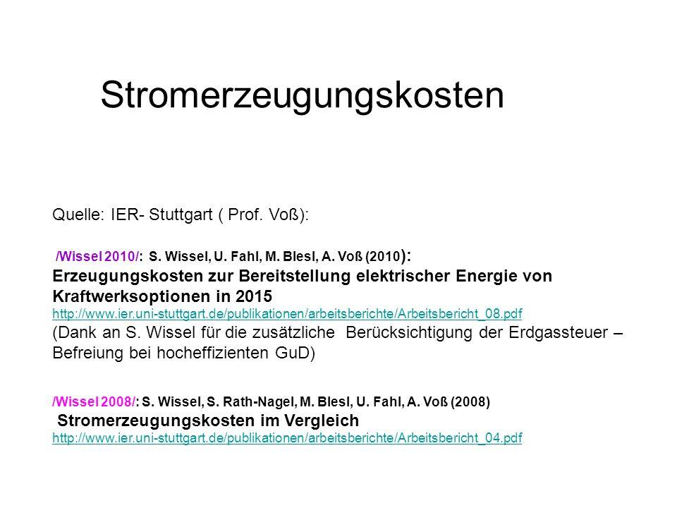 Stromerzeugungskosten Quelle: IER- Stuttgart ( Prof. Voß): /Wissel 2010/: S. Wissel, U. Fahl, M. Blesl, A. Voß (2010 ): Erzeugungskosten zur Bereitste