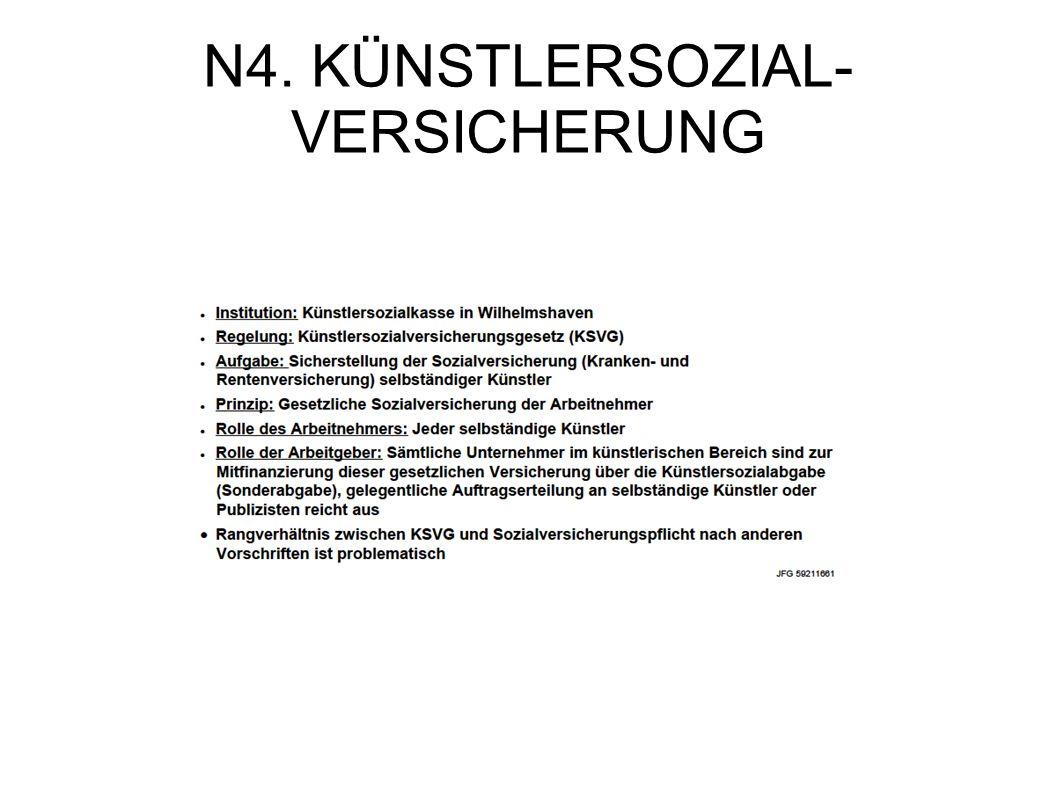 N4. KÜNSTLERSOZIAL- VERSICHERUNG